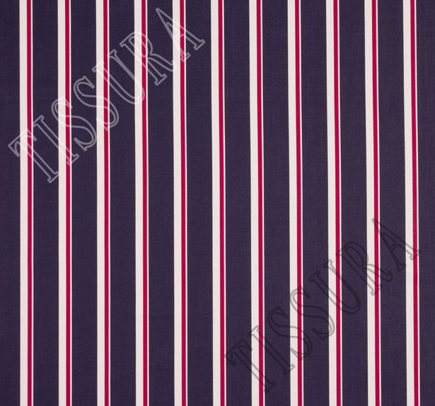 Твил-люкс в полоску из 100% хлопка – белые и красные вертикальные полосы на темно-синем фоне #2