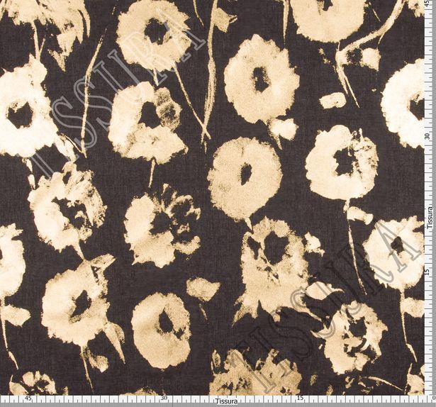 Ткань из 100% хлопка: на черном фоне золотистое напыление в виде принта с цветами (анемонами) #2