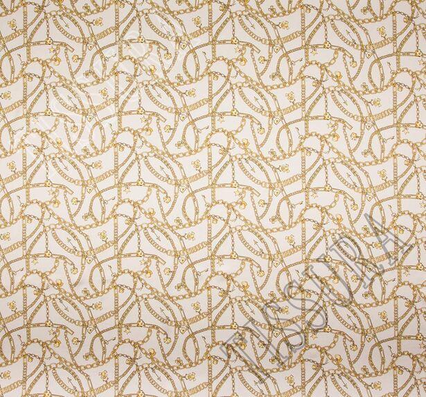 Атлас стрейч с изображением золотистых цепей #3