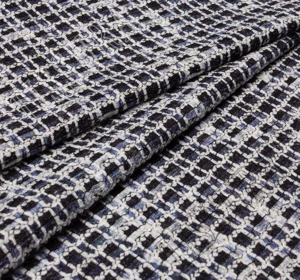 Ткань «рогожка» из фасонных нитей двусторонняя с принтом #4