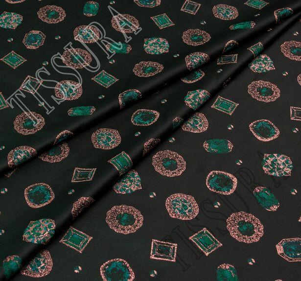 Жаккард темно-зеленый с изображением драгоценных камней #1