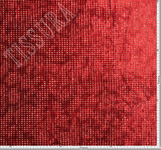 Двухсторонний бархат: красный, бежевый - украшен узором деворе «гусиная лапка», изнаночная – принтом пейсли #2