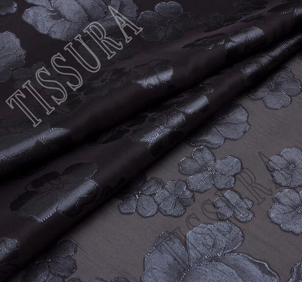 Органза-филькупе с тёмно-серыми цветами на чёрном фоне #1