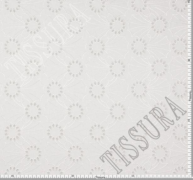 Джинсовая ткань с вышивкой «сангалло» молочного цвета из хлопка с эластаном #3