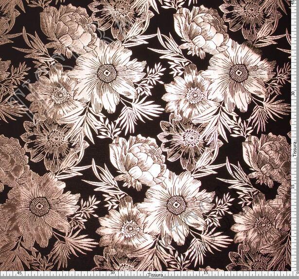 Парча черная с крупными медными цветами  #2