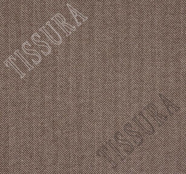 Ткань из шерсти 686025 Pecora Nera® в бежево-коричневую «ёлочку»  #2