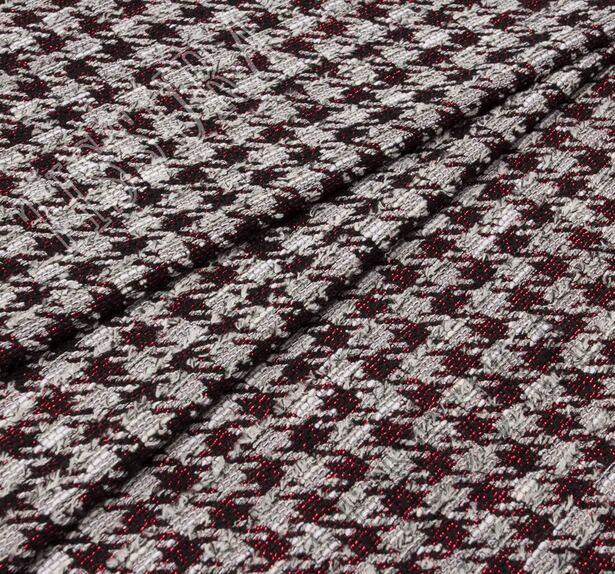 Жаккард-букле светло-серый с узором гусиная лапка #1