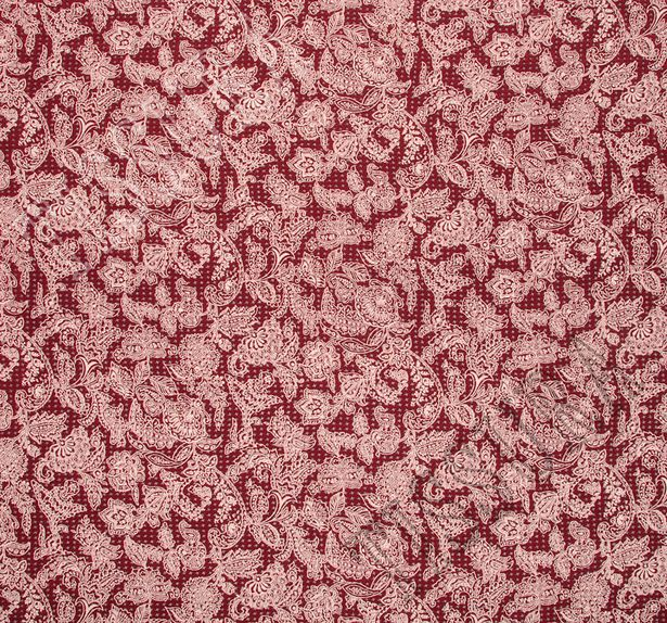Двухсторонний бархат: красный, бежевый - украшен узором деворе «гусиная лапка», изнаночная – принтом пейсли #3
