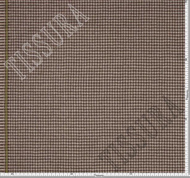 Ткань из шерсти 686027 Pecora Nera® в бежево-коричневую клетку «гусиная лапка» #3