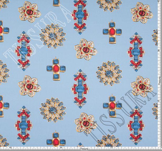 Атлас-стрейч с драгоценными украшениями на голубом фоне #3