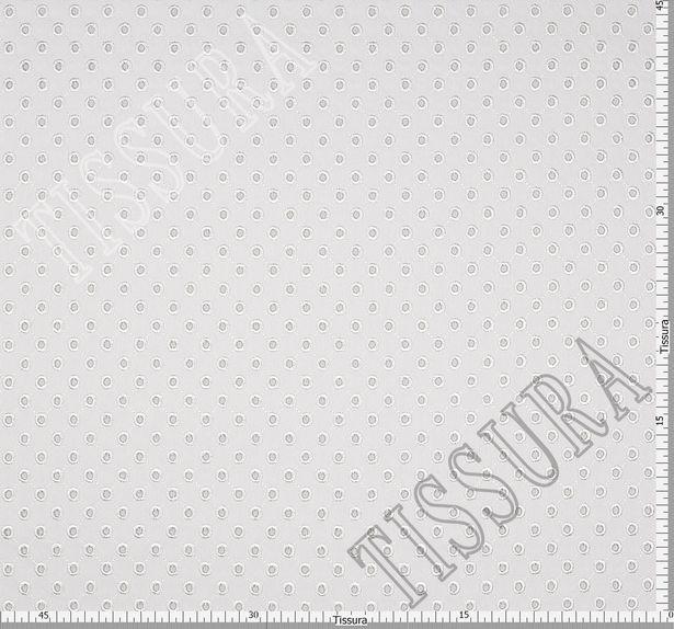 Джинсовая ткань молочного цвета из хлопка с эластаном, украшенная вышивкой «сангалло» #3