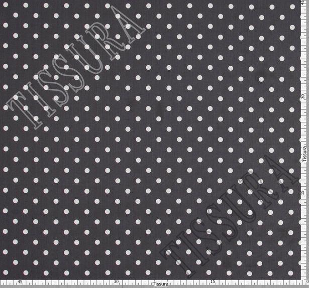 Жоржет из 100% шелка: классический дизайн – белый горошек на черном фоне #3