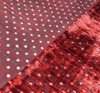 Двухсторонний бархат с узором деворе в клетку и гороховый принт на черной основе: красный, черный, молочный #1
