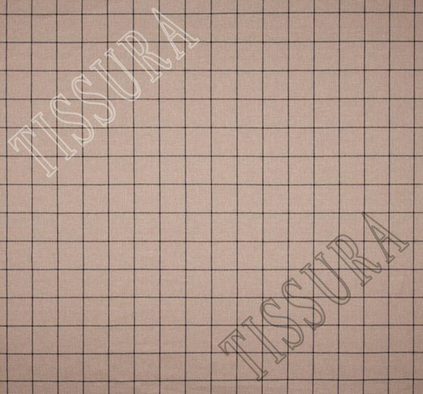 Лён из 100% льняной пряжи, скрученной из 3 нитей, на бежевом фоне коричневая клетка #2