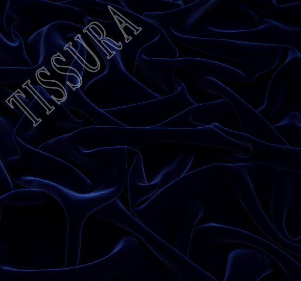 Французский шелковый бархат «Империя» насыщенного синего цвета #1