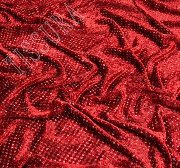 Двухсторонний бархат: красный, бежевый - украшен узором деворе «гусиная лапка», изнаночная – принтом пейсли #4