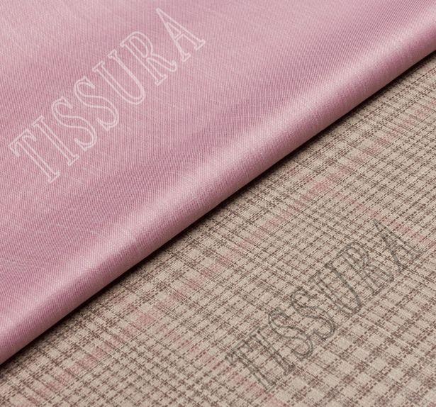 Двусторонняя ткань из шерсти, шелка и льна: розовый и розово-коричневая клетка #1