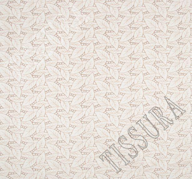 Поплин белого цвета с вышивкой в виде бежевых листьев #3