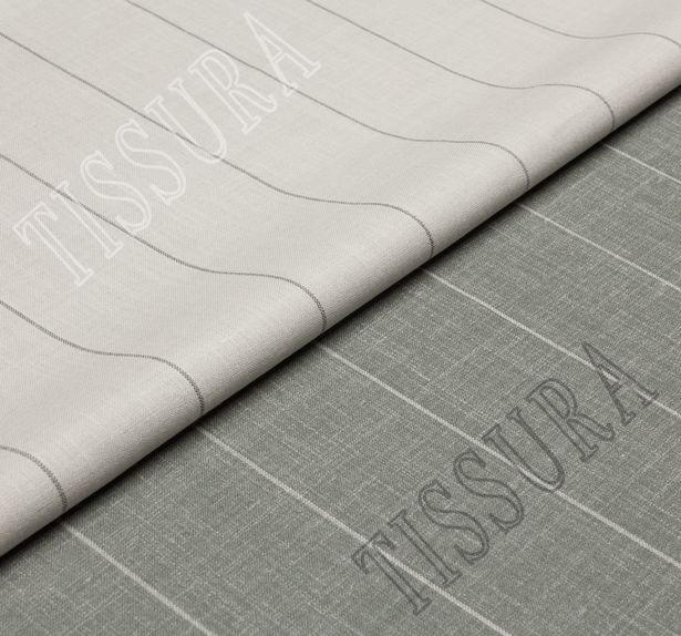 Двусторонняя шерсть из мериносовой шерсти, шелка и льна оливкового цвета в серую полоску #1