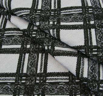 Жаккард черно-белый в клетку с кружевным узором #1