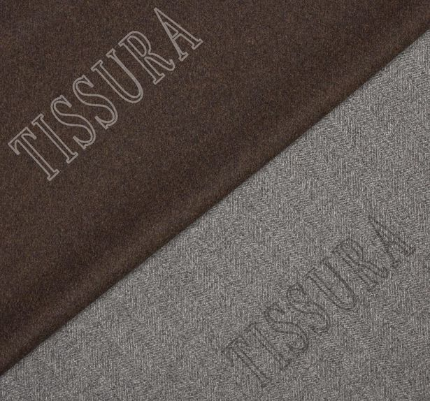Пальтовая ткань двусторонняя с одной стороной в серую «ёлочку», с другой коричневого оттенка #1