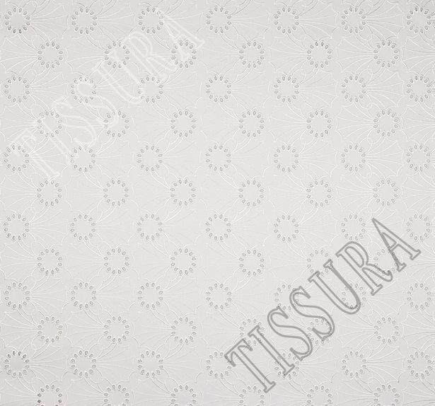 Джинсовая ткань с вышивкой «сангалло» молочного цвета из хлопка с эластаном #2