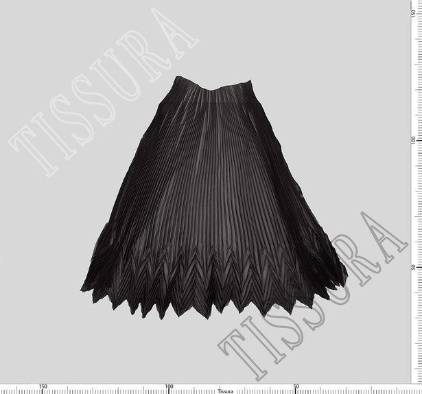 Шифон-плиссе, готовый плиссированный фрагмент «полусолнце» из легкого черного шифона #3
