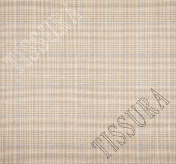 Двусторонняя ткань из шерсти, шелка и льна: песочный и песочно-голубая клетка #2