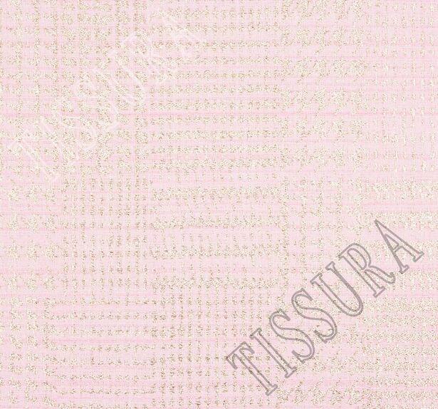 Жаккард-букле нежно-розового оттенка в золотистую клетку  #3