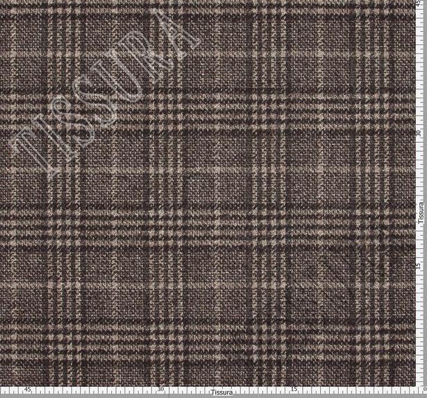 Пальтовая ткань шерстяная в бежево-коричневую клетку «Принц Уэльский» #3