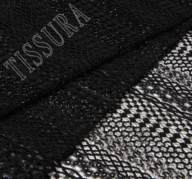 Кружево черного цвета с декором #1