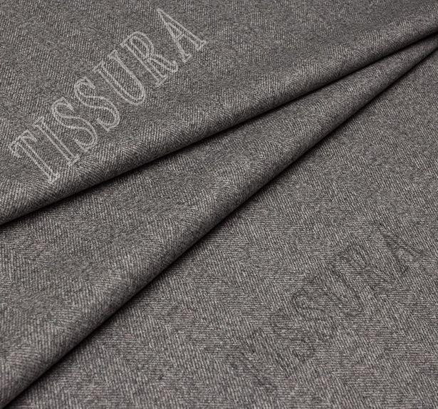 Пальтовая ткань двусторонняя с одной стороной в серую «ёлочку», с другой коричневого оттенка #4