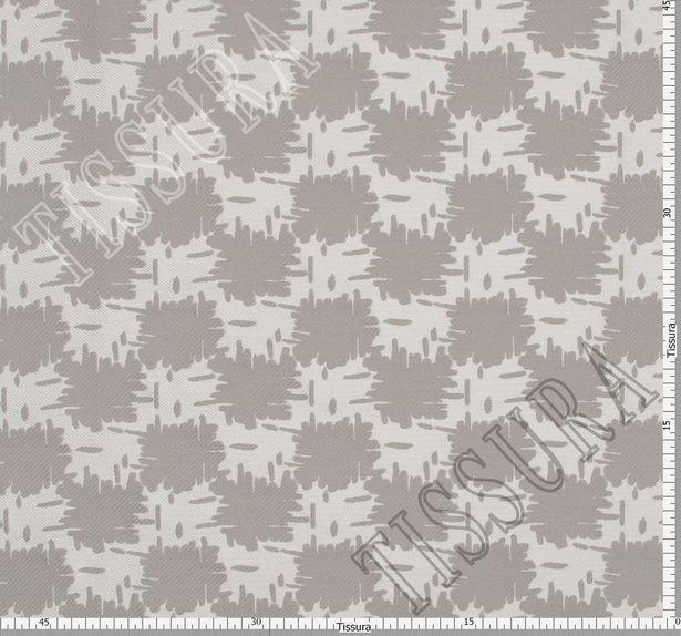 Жаккард двусторонний серо-белого цвета с абстрактным рисунком #3