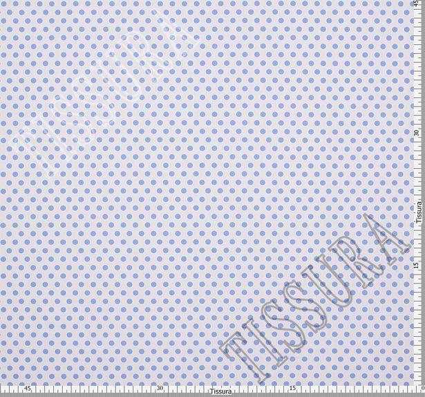 Хлопок с эластаном голубой горошек на белом фоне #3