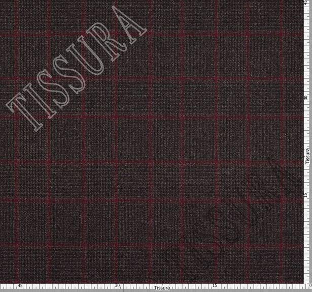 Пальтовая ткань двусторонняя бордового оттенка и в серо-бордовую клетку  #3