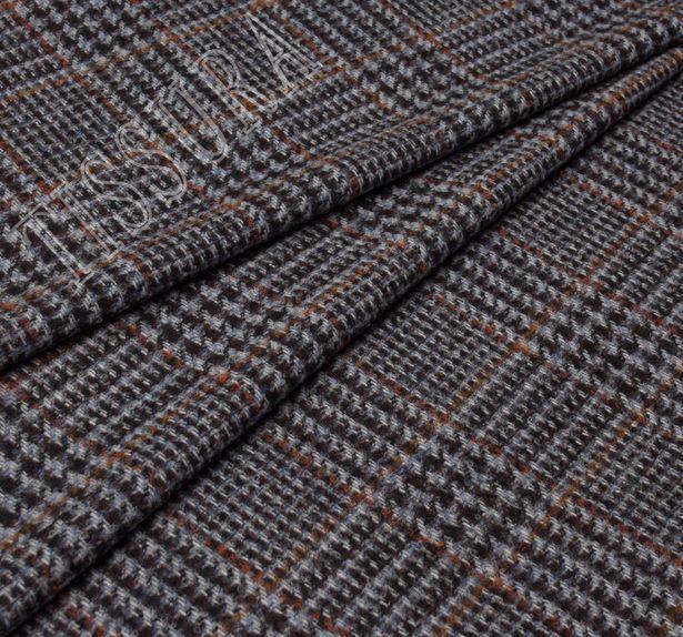Костюмная ткань из шерсти мериноса и сури альпака: коричнево-голубая клетка «Принц Уэльский» #1