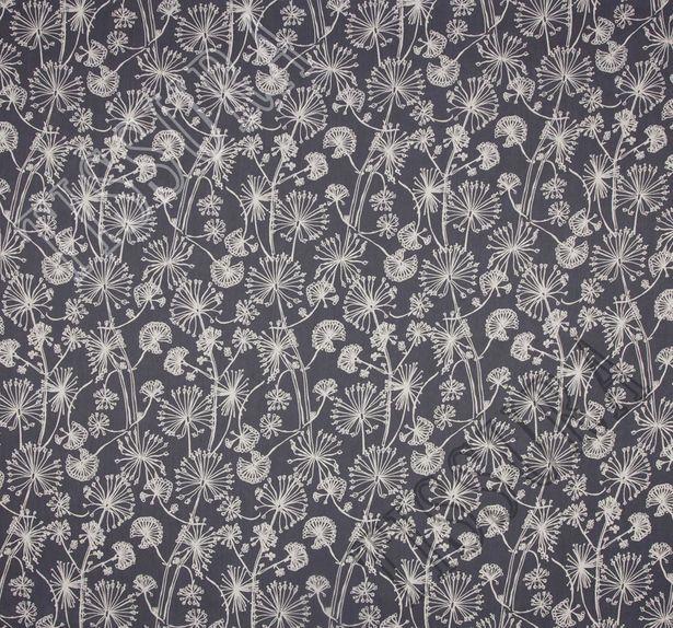 Ткань жоржет из 100% шелка, белый растительный принт на темно-синем фоне #1