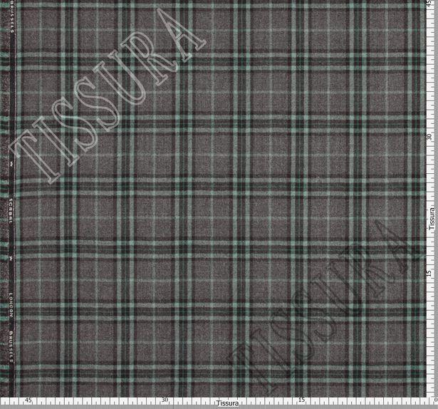 Мягкий и теплый твил из 100% шерсти. Шотландская клетка (тартан) на сером фоне выполнена в светло-зеленом и черном цветах #3