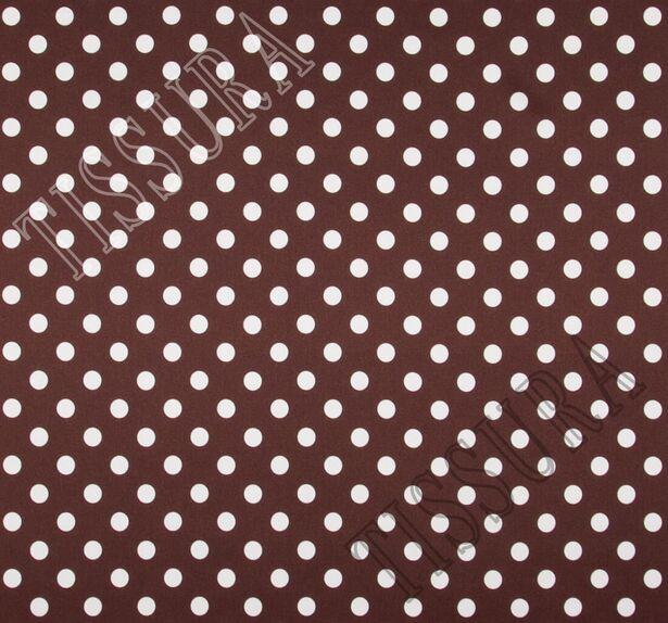 Атласная стрейч ткань. Основные цвета – молочный (горошек), темно-коричневый (фон) #3