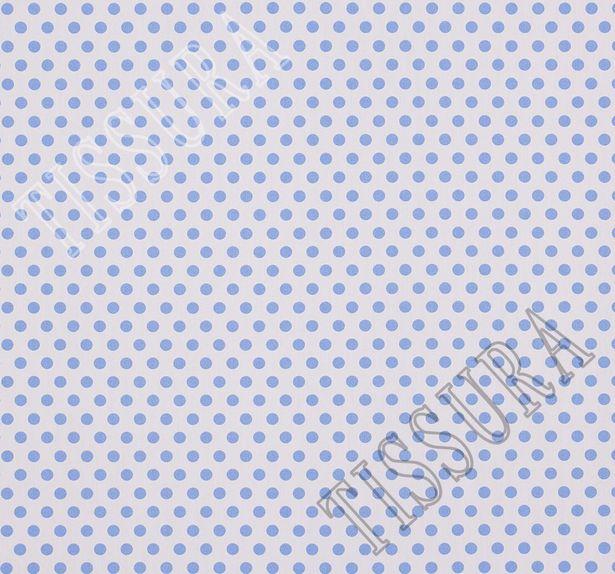 Хлопок с эластаном голубой горошек на белом фоне #2