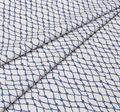 Поплин дизайн – «Морской траулер». На белом фоне сеть из синих морских канатов и узлов #1