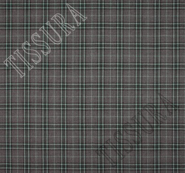 Мягкий и теплый твил из 100% шерсти. Шотландская клетка (тартан) на сером фоне выполнена в светло-зеленом и черном цветах #2