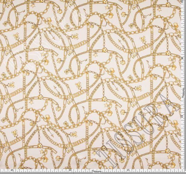 Атлас стрейч с изображением золотистых цепей #2