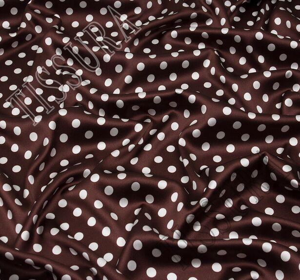 Атласная стрейч ткань. Основные цвета – молочный (горошек), темно-коричневый (фон) #1