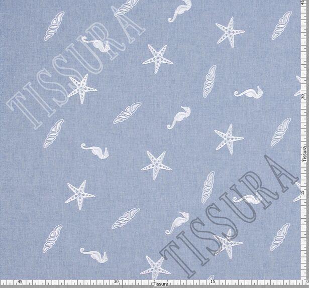 Хлопок голубой с вышивкой в виде звёзд и морских коньков #2