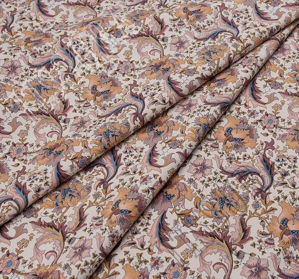 Поплин из 100% хлопка: на белом фоне которой расположены коричнево-розовые цветы #1