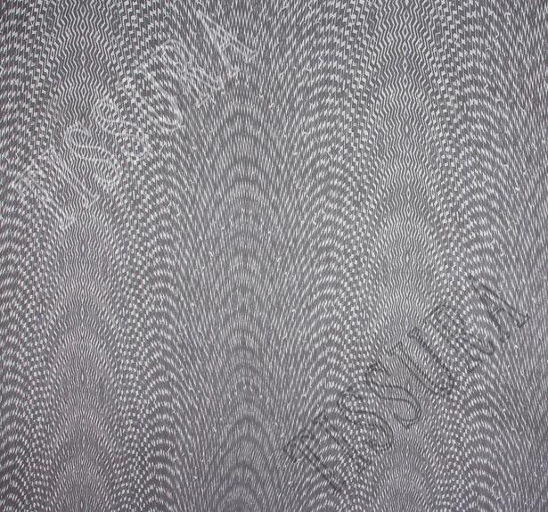 Шифон шелковый черно-белого цвета, дизайн – абстрактный #3
