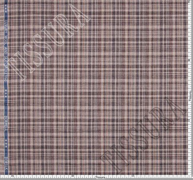 Ткань в клетку из шерсти и шелка, выполненная в коричневом, бежевом и сером цветах #3