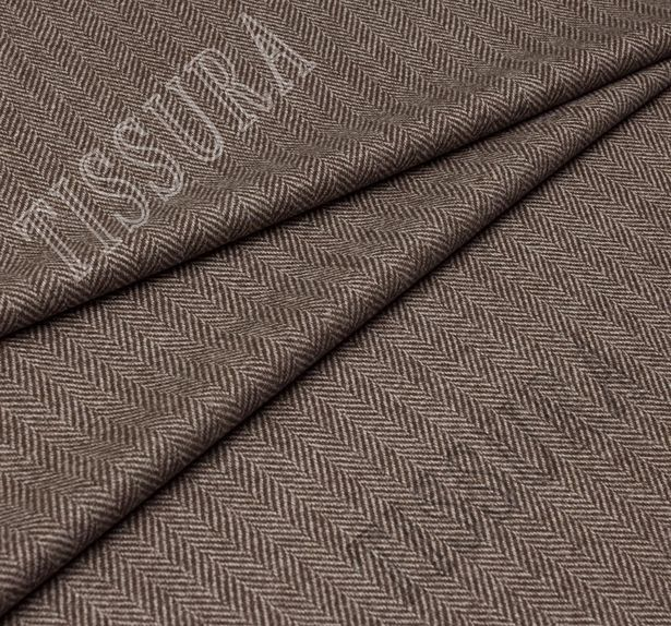 Ткань из шерсти 686025 Pecora Nera® в бежево-коричневую «ёлочку»  #1