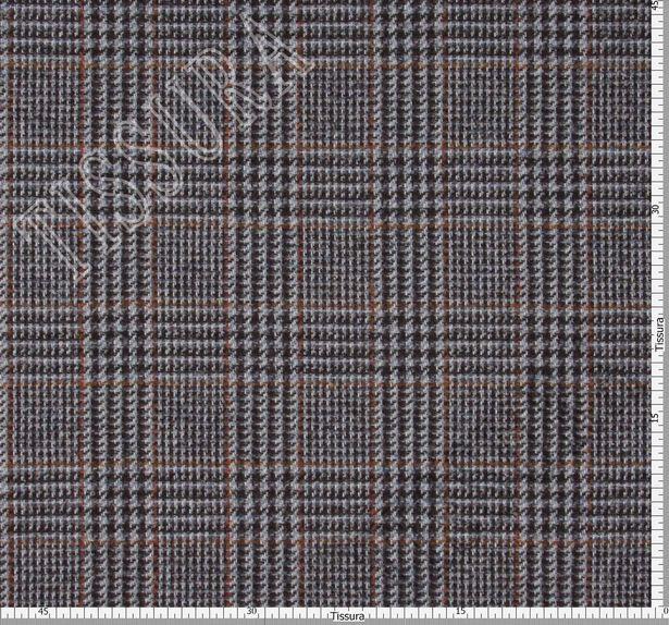 Костюмная ткань из шерсти мериноса и сури альпака: коричнево-голубая клетка «Принц Уэльский» #3